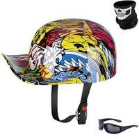 Motorcycle Helmets Vintage Open Face Helmet Baseball Cap Half Men Women For Scooter Moped Jet With Mask Glasses - DOT Certified