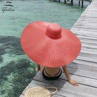 70 cm diametro grande largo cappello di paglia a corn accessori per capelli donne cappelli da spiaggia grandi signore estate 2021 protezione UV Pieghevole parasole parasole PACE SUNHAT