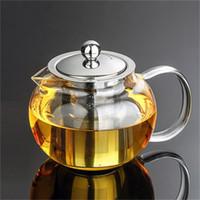 1set Nouveau verre résistant à la chaleur Tea Pot de thé Tea Fleur Set Puer Kettle Théière à café avec Infuser 1PC 950ml Théière + 2pcs Coupe 257 S2
