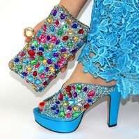 Dress Shoes Sky Blue African And Purse Bag Set To Match Italian Design Pumps With Handbag Crystal Sandals Clutch For Party S831