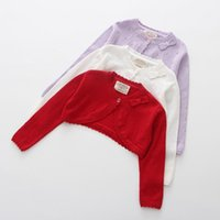 Jackets 2021 Purple Baby Girls Cardigans Sweater Jacket Bow Red Girl Coat Of 1 2 3 4 Years Old Outcoat Shawl Clothes OKC195109
