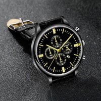 Wristwatches Top Mens Watches Male Clocks Date Sport Clock Leather Strap Quartz Business Men Watch Gift (Small Dial No Work B36