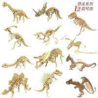 Dinozor bulmaca 3D ahşap çocuk eğitici oyuncaklar ilkokul öğrencileri için el yapımı malzemeler