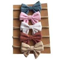 Accessori per capelli 4 Pz / lotto Bambini Bow Nylon Fandbands Carino Soft Lenzuola Tessuto Hairbands Bow-nodo Elastico personalizzato Semplice per le ragazze