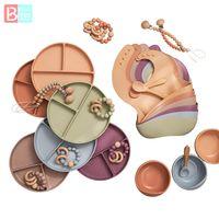 6PCS Baby Feeding Tableware Food Grade Silicone Bowl Bib Plate Spoon Pacifier Chain Bracelet Set BPA Free 210913