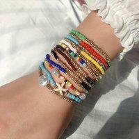 Богемные многослойные красочные бусины браслеты браслеты для женщин ювелирные изделия Boho Tassel Starfish Beach Beach Bracte Bracete подарки Pulseiras