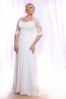 Plus Storlekstrand Bröllopsklänningar 2021 Hot Selling New Custom Floor Length Half Sleeve Chiffon Lace Modest Bridal Gowns Vestidos de Novia W601