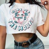 Women's T-Shirt 2021 Summer Korean Lucky Cat Printing Fashion Street Exposed Navel Short Female