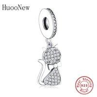 Huoonew Fit Original Pandora Charm Bractelet 925 Стерлинговое серебро Маленькое животное Cat Zirconia Crystal Bead Cleans Berloque Q0531