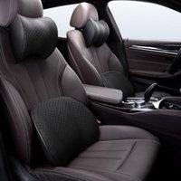 Seat Cushions Car Headrest Pillow Sport Net Cloth Lumbar Support Breathable Memory Foam Neck Pu Leather Head Restraint S