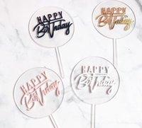 Mutlu Doğum Günü Akrilik Kek Topper Altın Daire Çift Katmanlı Kek Topper Doğum Günü Partisi Kek Süslemeleri Şenlikli Parti Malzemeleri SN3764
