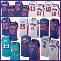 "Cade 2 Cunningham Jersey di pallacanestro Detroit ""Piston"" 2021 New Derrick 25 Rose Grant 33 Hill Isah 11 Thomas Dennis 10 Rodman Mens Colore contrasto"
