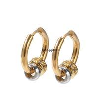 JH Boucles d'oreilles de la mode Gold Couleur Cubic Zircon Hoop Boucles d'oreilles Cz Diamant Acier inoxydable Boucle d'oreille pour femmes Homme punk hip hop bijoux accesso