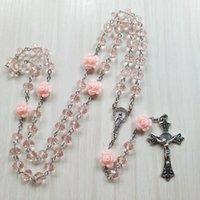 Colliers Pendants Qigo Rose Rose Crystal Rosaire Collier Catholique Vintage Croix Pendentif Longue Joaillerie religieuse
