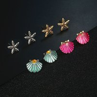 Earring product day style Earrings symmetrical starfish Shell colorful ears