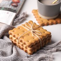 Durable Creative fashion modern wood biscuit shape coaster solid wood modeling Mug restaurant coffee cup insulation mat GWD4915