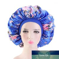 Beanie Skull Caps Large Print Satin Silky Bonnet Sleep Cap Width Elastic Band For Women Solid Color Head Wrap Lady Hair Accessories Wholesal