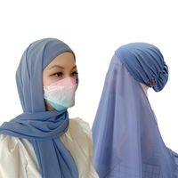 Ethnic Clothing Design Easy Wear Masks Stretch Hijab Instant Scarf Women Bonnet With Chiffon Shawl Buttons Cover Headwrap Turbante