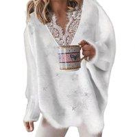 Women's Sweaters Women Sweater Elegant Ladies Lace Patchwork Solid Neckline Autumn Winter Five-pointed Star Pattern V Neck