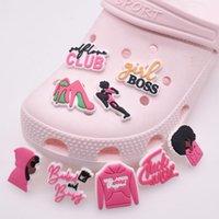 100pcs lot pink style PVC Rubber Shoe Charms Shoes Accessories cute cartoon clothing shoe croc shoe decorations gril gift