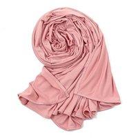 الأوشحة 20 ألوان الأزياء ماكسي مشروط عادي مرونة جيرسي الحجاب الصلبة بسط أغطية الرأس التفاف سنود فولارد مسلم سجال 170 * 60 سنتيمتر