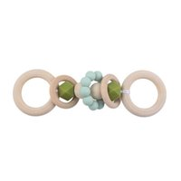 DIY Baby Pacifiers Natural Wooden Silicone Teething Beads Teether Newborn Teeth Practice Toys Food Grade Soother Infant Feeding Kids Chew Toy B8144