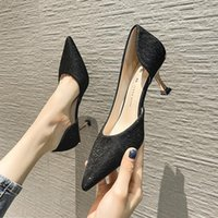 Dress Shoes High Heeled French Girl 2021 Spring And Autumn Side Air Black Pointed Thin Heel Sexy Fairy Middle
