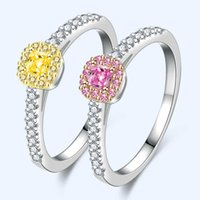 Romantic Color Yellow Diamond Rings Women's Square Imitation Pink Luxury Jewelry Wedding 925 Sterling Silver