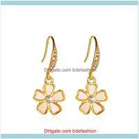 & Chandelier Jewelrykorean Fresh Floral Earrings Hook Five Flower Zircon Ear For Gift Women Alloy White Fashion Dangle Earring Jewelry Drop