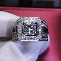 Cluster Rings Bling Cubic Zircon Micro Paved Engagement Ring For Men Male Wedding Band Silver Color Clear Stone Classic