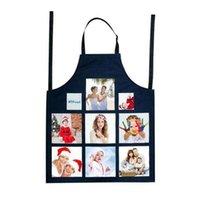 Linen Sublimation Blank Kitchen Apron Fashion Jiugongge Heat Transfer Half Length Sleeveless Aprons DIY Gift Supplies