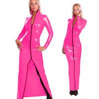 Casual Dresses Women Exotic Midi Bodycon Dress Plus Size PVC Slim Long Sleeve Front Zipper PU Leather Sheath Vestido Party Club Costume