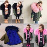 Kids Girls Winter Warm Parka Jackets Hooded Big Fur Collar Puffer Coats Pink Blue Rose Thick Fleece Lined Outwear Outdoor Coat Tops Boutique Clothing G986VLK