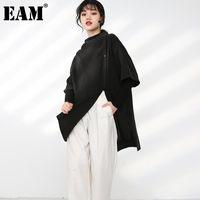 [EAM] Kadın Düzensiz Büyük Boy Siyah Bluz Yeni Standı Yakası Üç Çeyrek Kol Gevşek Gömlek Moda İlkbahar Sonbahar 2021 1dB37601
