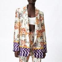 Women Suits Fashion Print Women Blazer Suits Long Sleeve Cardigan Blazer Pants Set Office Ladies Two-piece Blazer Sets