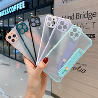 Cell Phone Cases Wristband Holder Frosted Anti-drop Fine Hole Contrast Color Protective Cover Suitable for Samsung iPhone 7 8 11 12 Pro