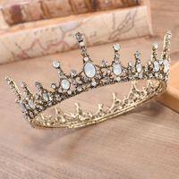 Forseven Retro Barockkristall Runde Tiaras Kronen Prinzessin DIAdem Coronal Kopfschmuck Frauen Braut Noiva Hochzeit Haarschmuck 210616