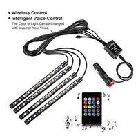 LED Gadget 4PCS 12 5050 SMD Car Interior Atmosphere Lamp Auto 12V RGB Neon Lights Strip Music Control + IR Remote