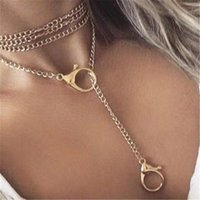 Pendant Necklaces Button Lock Angle Necklace Female Punk CUBAN CHAIN Acrylic Mr. And Mrs. Collier Love Aesthetic Jewelry