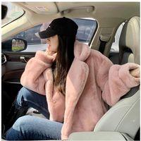 Women's Fur & Faux Women 2021 Winter Fashion Imitation Mink Jackets Female Short Warm Coats Ladies Solid Color Loose Outwear M608
