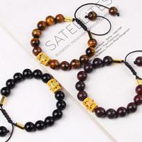 Бисером, Стренд Мода Тибетский Будда Шарм Заплетенный браслет для женщин Мужчины 10 мм Натуральный Тигр Джаспер Осидиан Камень Бусина Браслеты Еврей