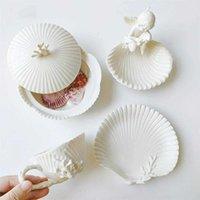 유럽 럭셔리 컵 접시 화이트 선물 간단한 세라믹 작은 커피 컵 크리 에이 티브 도자기 액세서리 Tazas Drinkware DF50BD