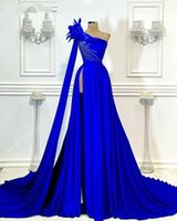 Royal Blue Long Evening Dresses A Line 2021 Elegant One Shoulder High Slit Luxury Beaded African Women Feather Formal Party Gowns Prom Dress