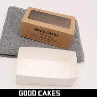 50 teile / los danke Geschenkboxen Kraftpapier Weiße Schublade Form Kuchen Papierkiste mit klarem Fenster Display Verpackung für Bäckerei 204 s2