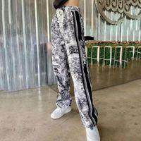 Kadın Pantolon Baskı Casual Kadınlar Jogger Sweatpants Moda Kadın Yüksek Bel İpli Streetwear