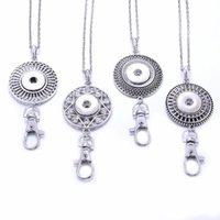 Collane a sospensione Snap Button Jewelry 18mm Portachiavi collana di moda in metallo in metallo