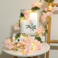 Cuerdas Hydrangea LED String Light Rattan Flor Lámpara Colgante Dormitorio Decoración de Boda Rosa Linterna Vacaciones