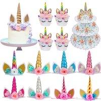Unicornio Cumpleaños Cake Wings Decoración Dibujos animados Unicornio Pastel Toppers Fiesta de cumpleaños Decoración de la fiesta Niños Magdalena Wrappers Cake Topper