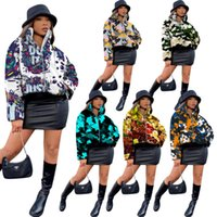 Cotton Clothes 2020 Designer Personalized Camouflage Graffiti Printed Zipper Stand-up Collar Coat Ladies New Fashion Women Down Jacket