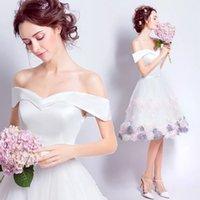White Short prom Dresses 3D Floral Flowers A line Off Shoulders Satin Formal Party Prom Gowns Graduation Cocktail Dress
